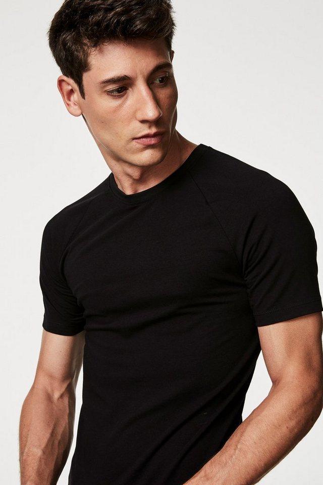 Next Muscle Fit-T-Shirt mit Raglan in Black