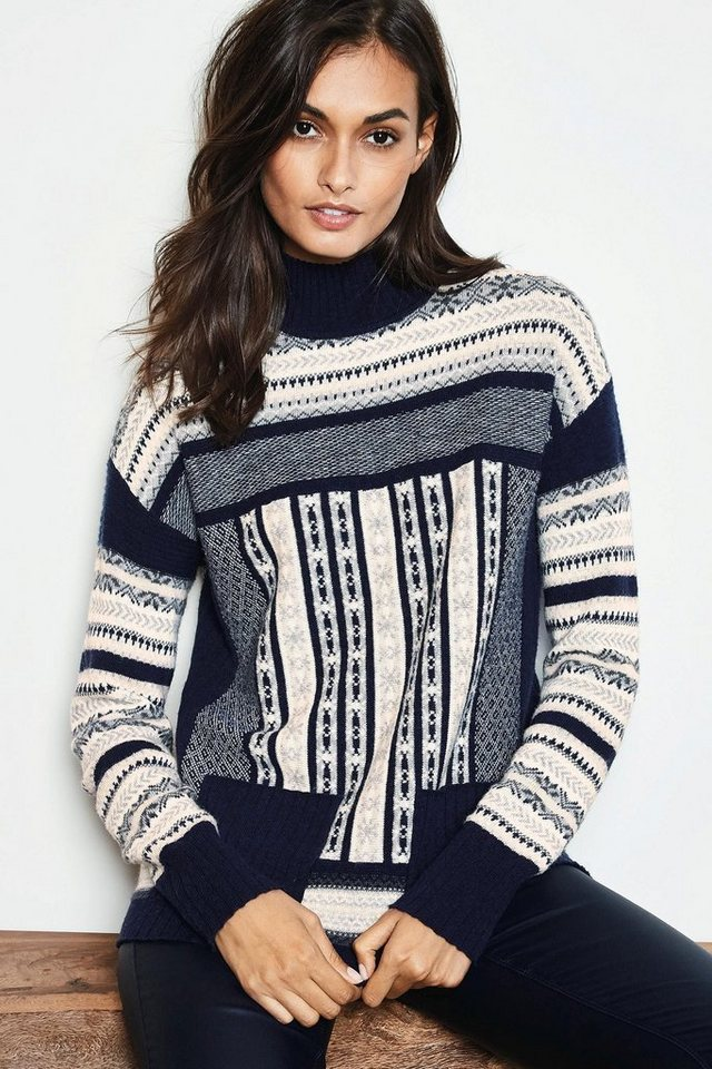 Next Rollkragenpullover mit Norwegermuster in Navy