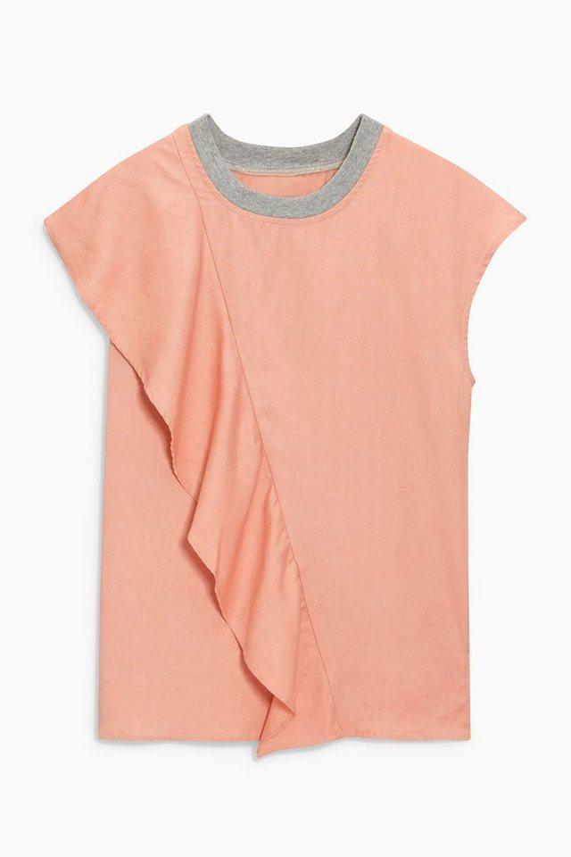 Next T-Shirt mit gerüschter Vorderseite in Blush