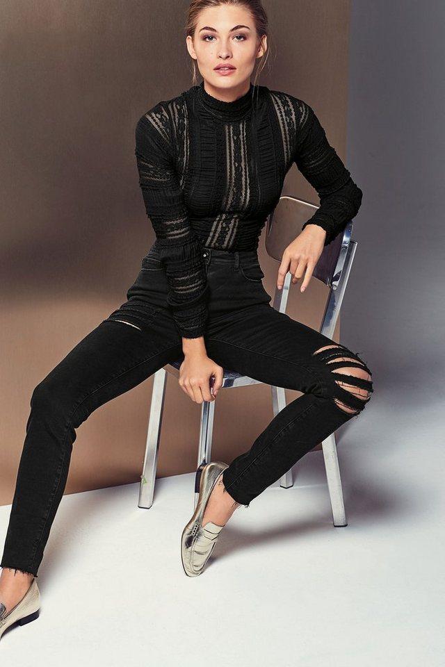 Next Skinny-Fit Jeans im Used-Look in Black