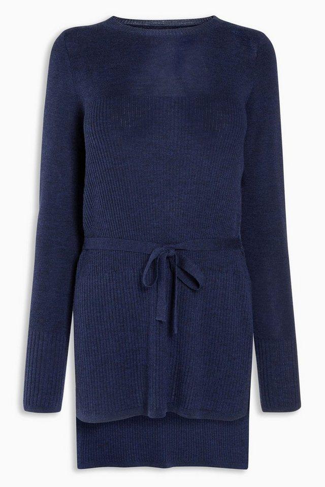 Next Langer Merino-Pullover mit Schnürung an der Taille in Navy