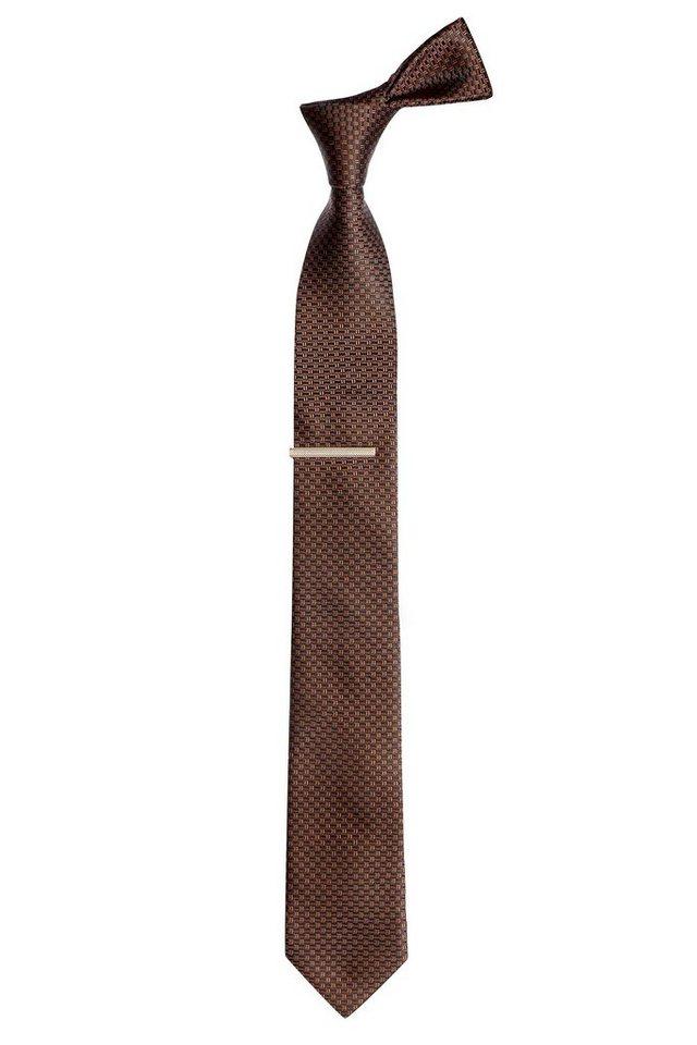 Next Strukturierte Krawatte mit Krawattennadel 2 teilig in Rust