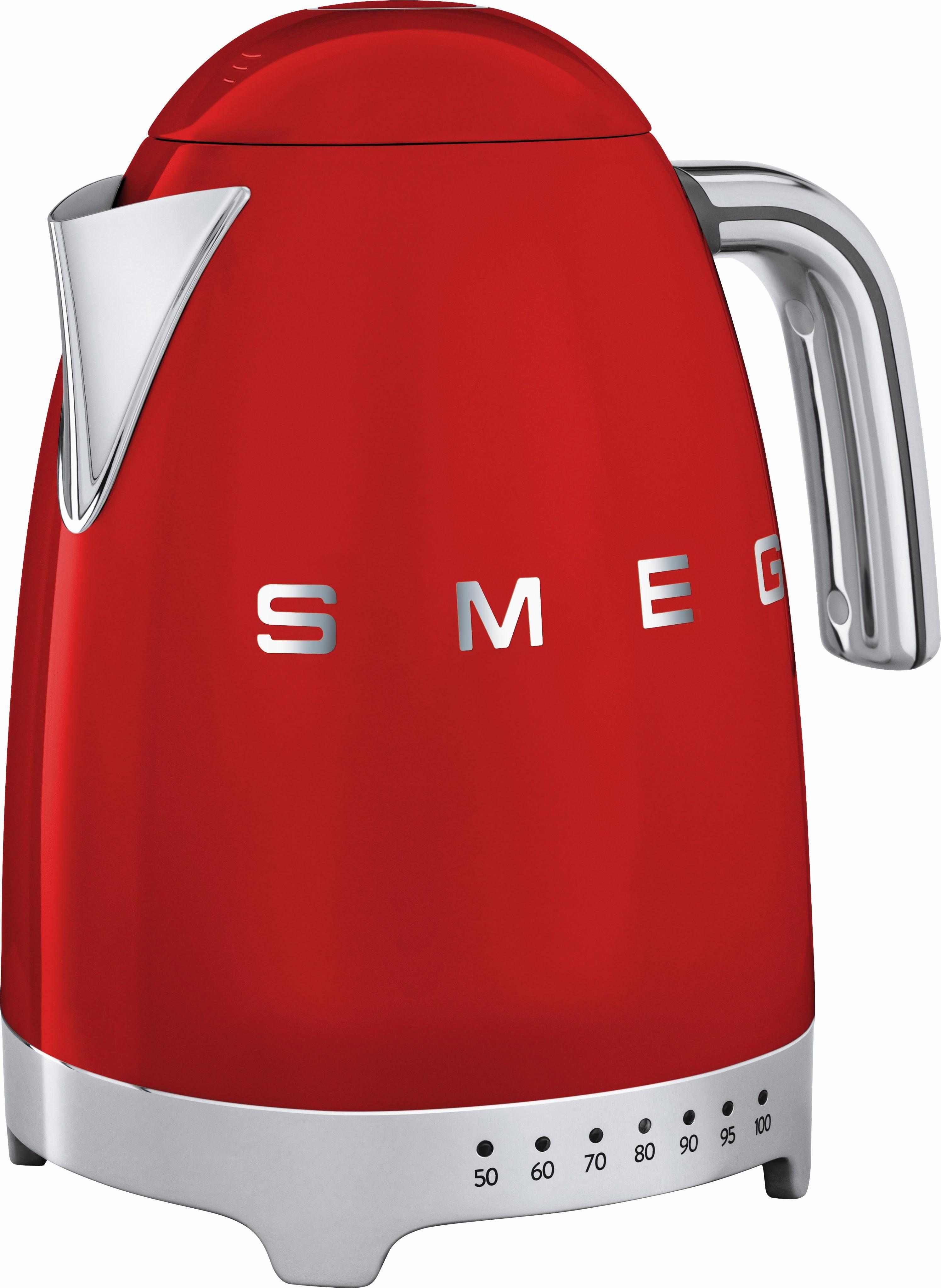 Smeg Wasserkocher KLF02RDEU, 1,7 Liter, 2400 Watt, rot
