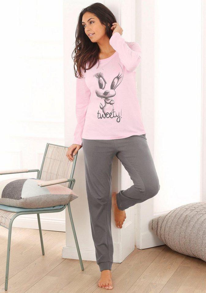 Tweety Pyjama mit großem Tweety-Druck in rosa/taupe