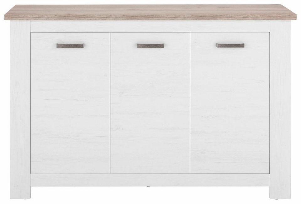 Sideboard »Lotte«, Breite 140 cm in weiß Struktur/piniefb. grau