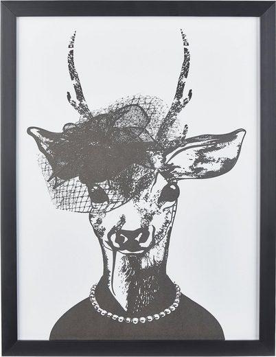 G&C Kunstdruck »Reh-Frau in stillvollen Abendmode«, 33/43 cm, gerahmt