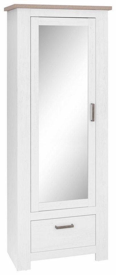 Garderobenschrank »Lotte« in weiß Struktur/piniefb. grau