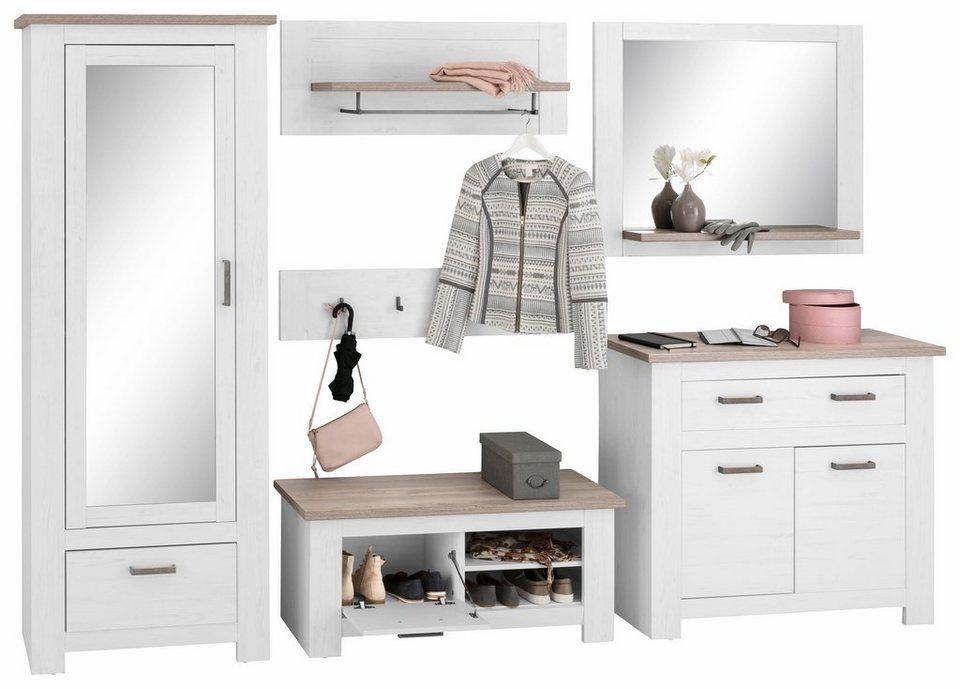 Garderoben-Set »Lotte« (6-tlg.) in weiß Struktur/piniefb. grau