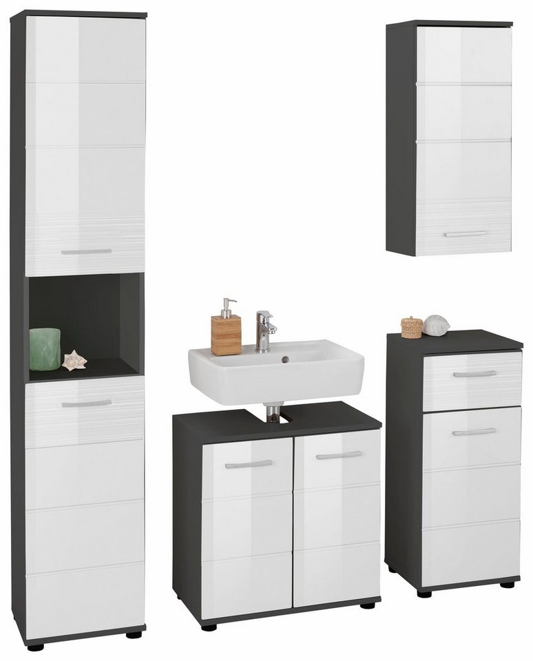 trendteam badm bel set smart 4 tlg mit hochglanzfronten mit struktur online kaufen otto. Black Bedroom Furniture Sets. Home Design Ideas