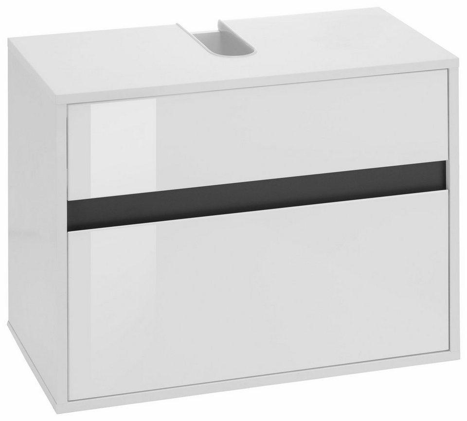 Welltime Waschbeckenunterschrank »Sol« in weiß/weiß Hochglanz