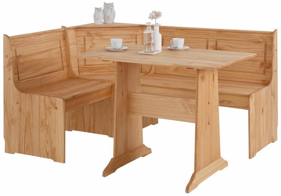 Home affaire Eckbankgruppe »Sascha« mit Tisch und Bank in natur