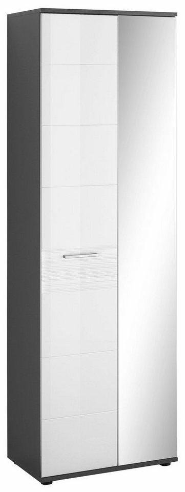 trendteam Garderobenschrank Smart mit Spiegel grau | 04251219785738