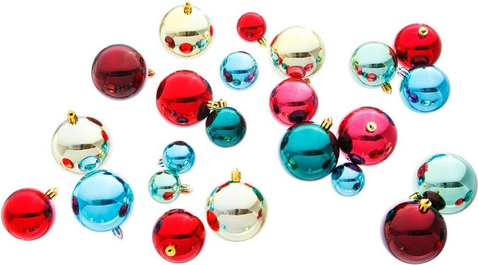 Weihnachtskugeln (86tlg.) in rot/blau/grün/goldfarben