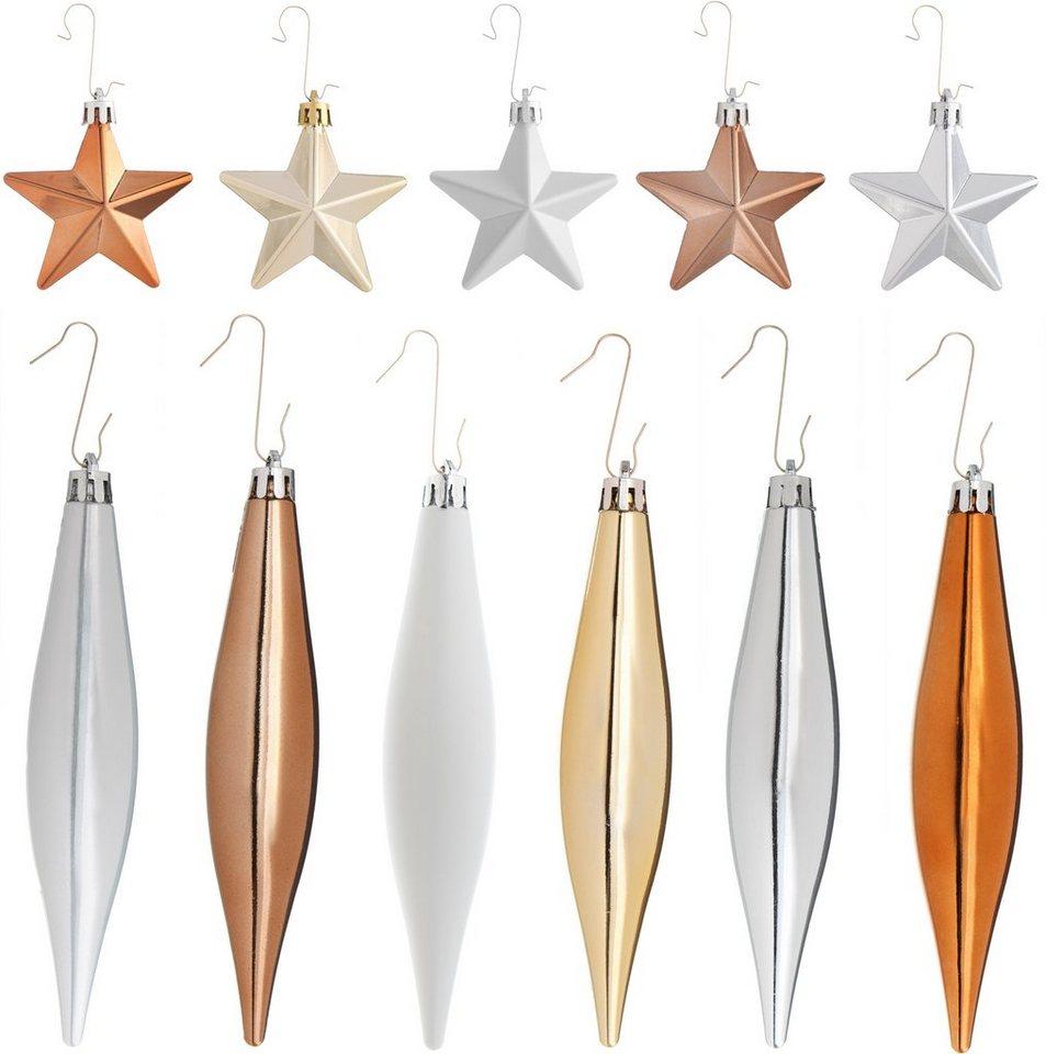 Baumschmuck (40tlg.) in weiß/goldfarben/silberfarben/bronzefarben