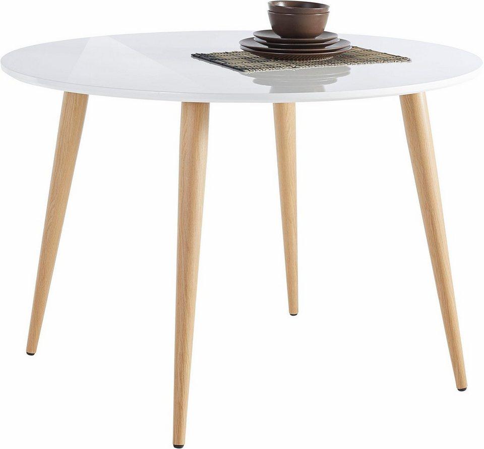 Esstisch, Durchmesser 110 cm in Weiß Hochglanz/eichefarben