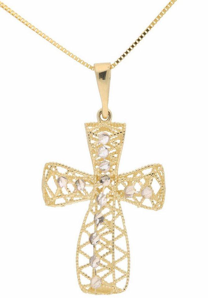 Firetti Kette mit Anhänger »Kreuz« in Gelbgold 375
