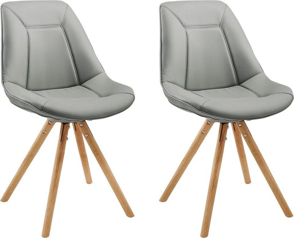 Schalenstühle (2 Stück) in Grau/Eiche