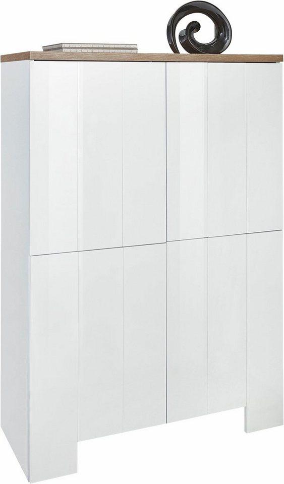 Tecnos Highboard, Breite 90 cm in weiß Hochglanz/eichefarben Natur