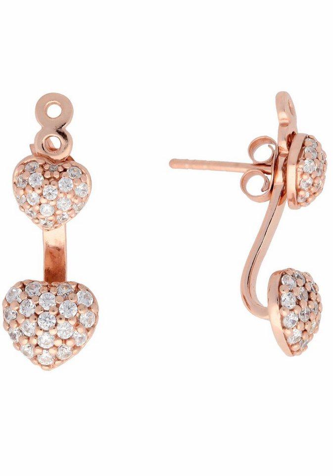 Firetti Paar Ohrstecker »Herz« mit abnehmbaren Einhängern und Zirkonia in Silber 925-roségoldfarben