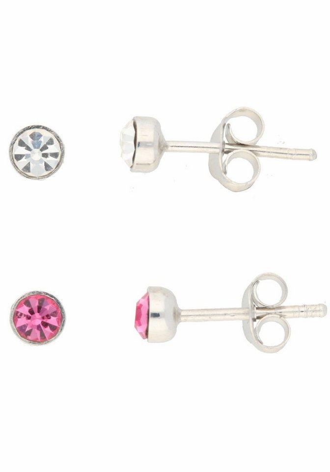 Firetti Schmuckset mit Kristallsteinen (Set, 4 tlg.) in Silber 925-rosa