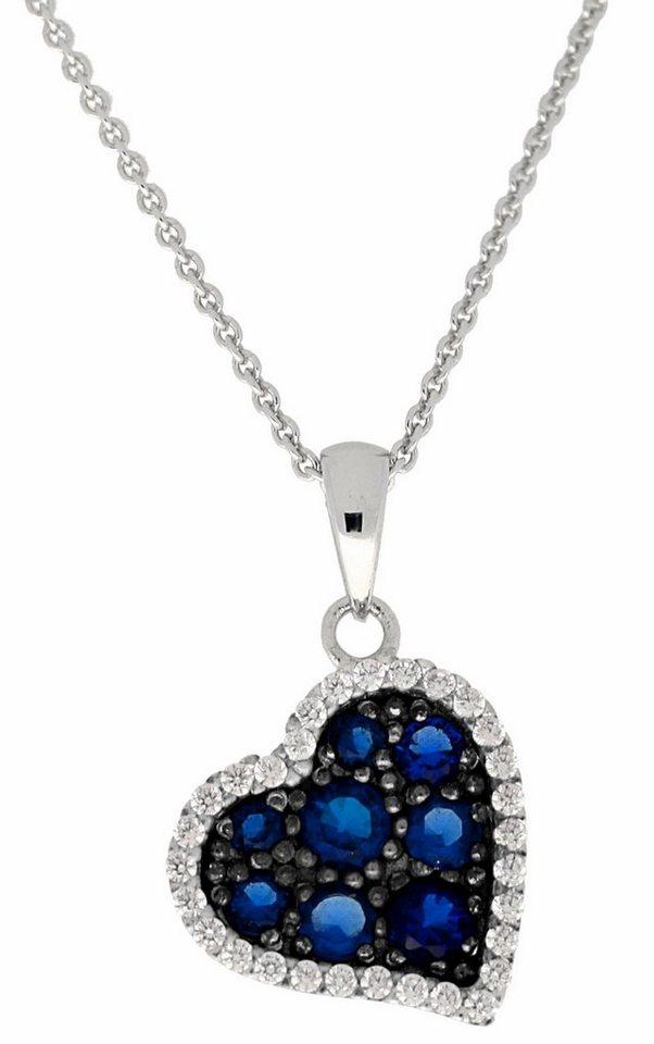 Firetti Herzkette »Herz« mit Zirkonia und Glassteinen in Silber 925-blau