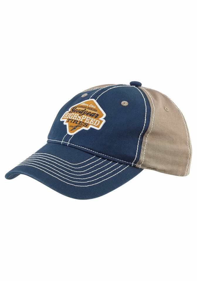 Goodyear Baseball Cap mit Kontrastnähten in blau-beige