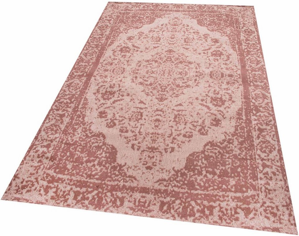 Orient-Teppich, Parwis, »Jacq«, Vintagedesign, handgewebt in mushroom