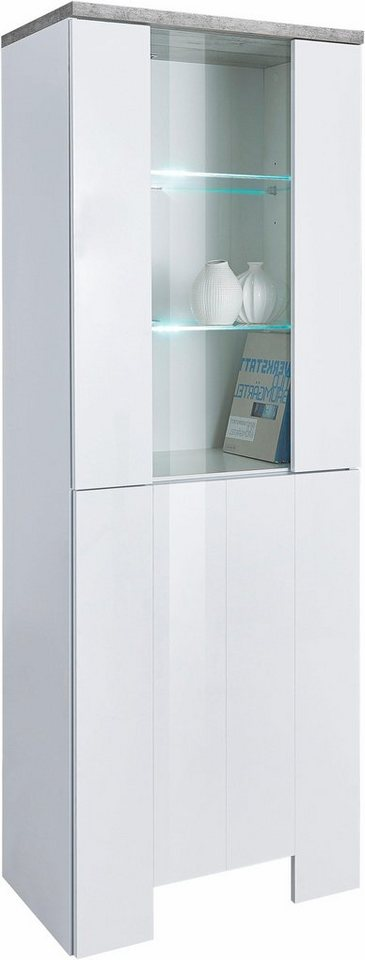 Tecnos Vitrine, Höhe 170 cm in weiß Hochglanz/zementfarben