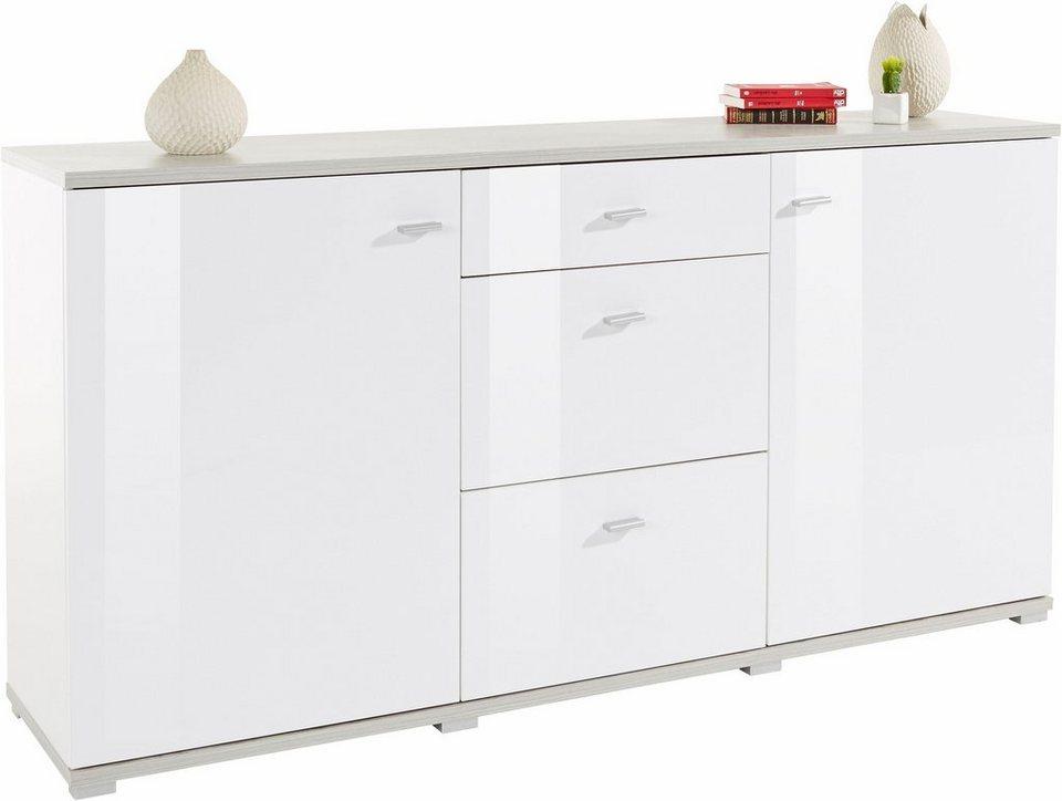 Sideboard, Breite 175 cm in weiß/Beton-Optik