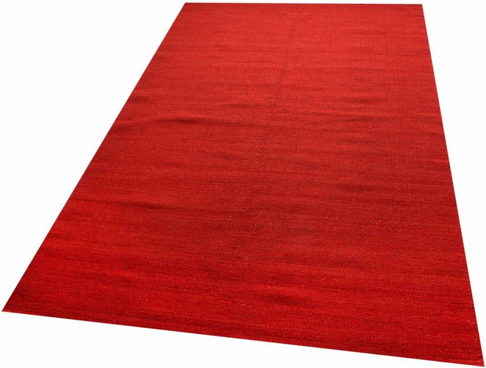 Teppich, Parwis, »Kelim uni«, handgewebt in rot