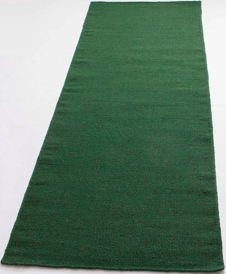 Läufer, Parwis, »Kelim uni«, handgewebt in grün