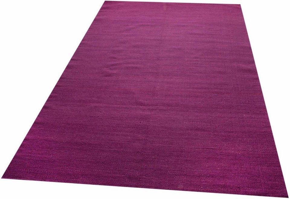 Teppich, Parwis, »Kelim uni«, handgewebt in lila