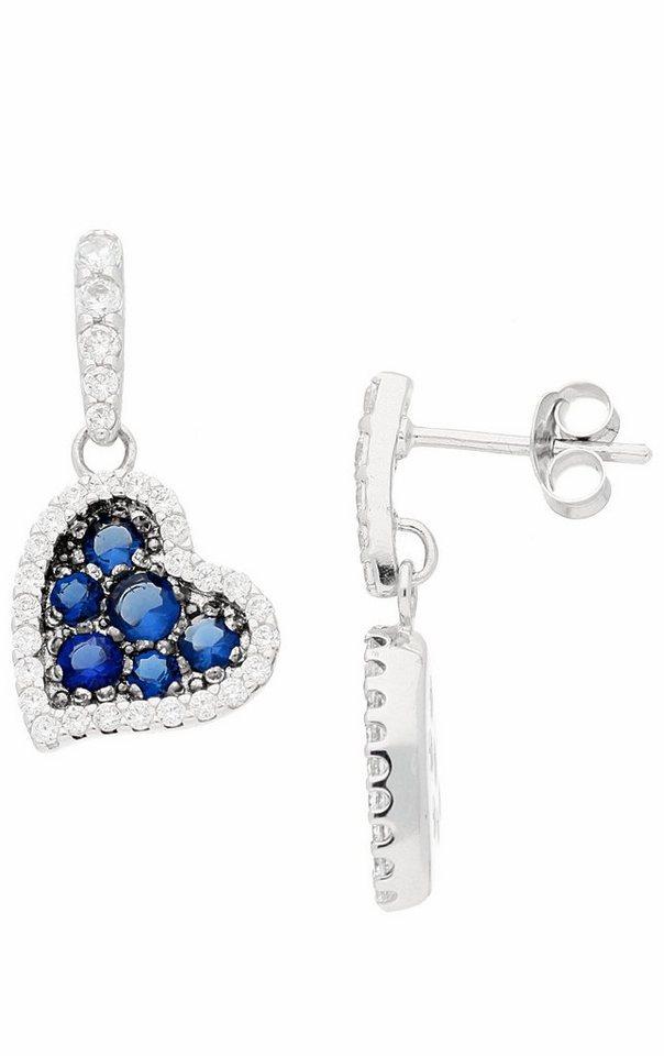 Firetti Paar Ohrstecker »Herz« mit Zirkonia und Glassteinen in Silber 925-blau