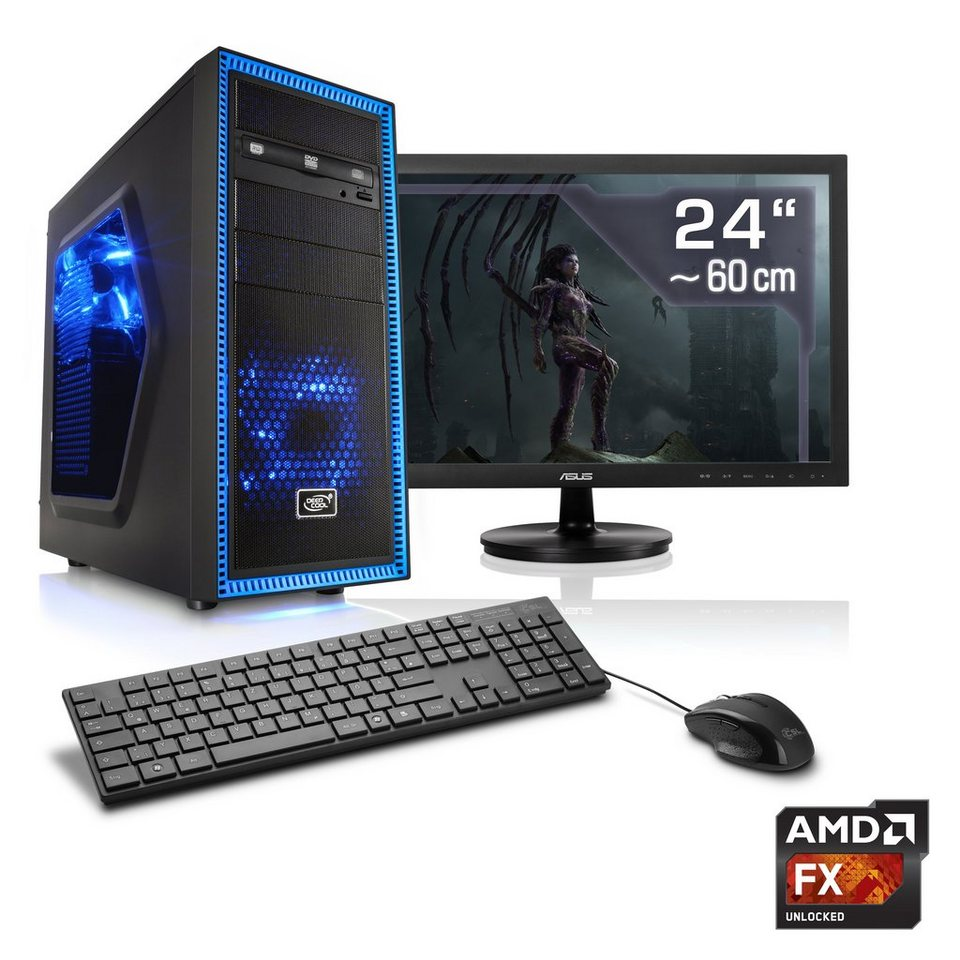 "CSL Gaming PC Set | AMD FX-8350 | GTX 1060 | 16 GB RAM | 24"" TFT »Sprint T6672 Windows 10 Home«"