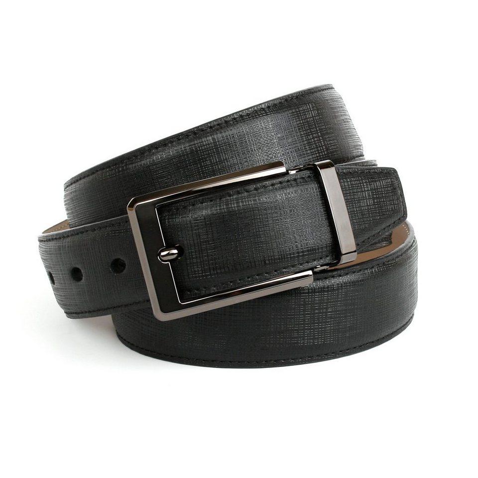 Anthoni Crown Klassischer Ledergürtel mit hochwertiger Schließe in Schwarz