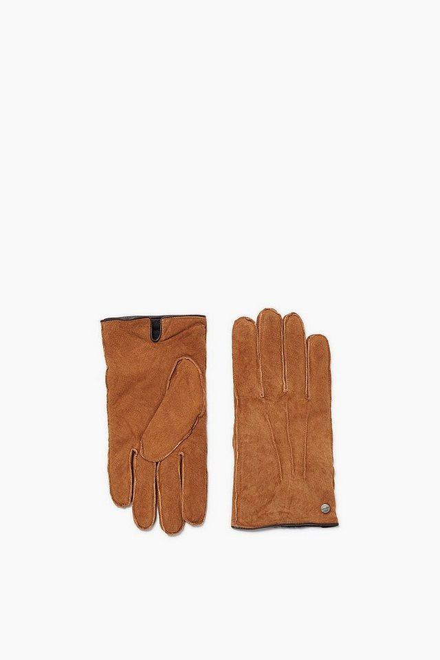 ESPRIT CASUAL Veloursleder Handschuhe, Kunstpelz-Futter in CARAMEL