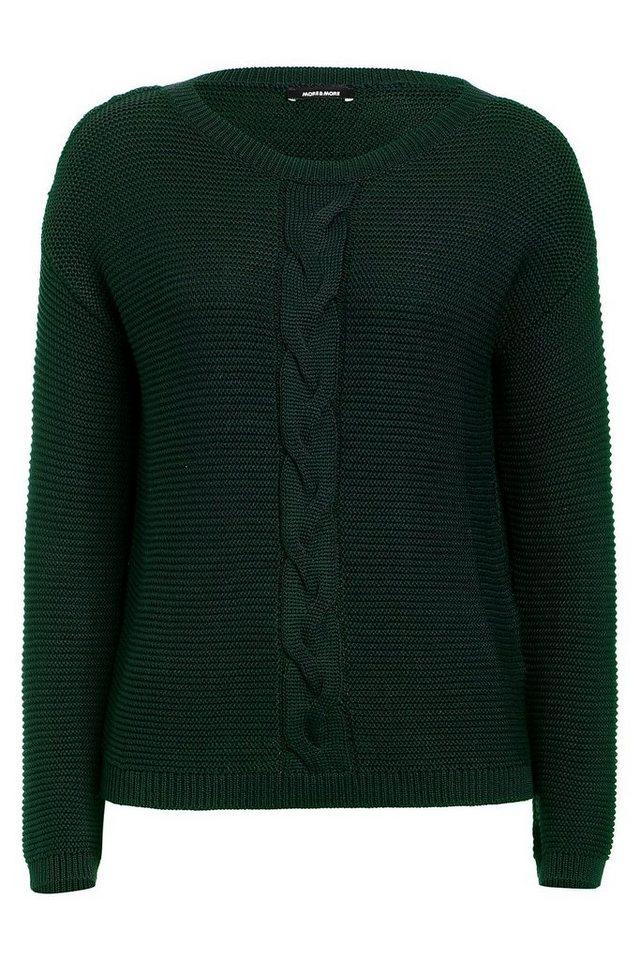 MORE&MORE Pullover, Zopf in grün