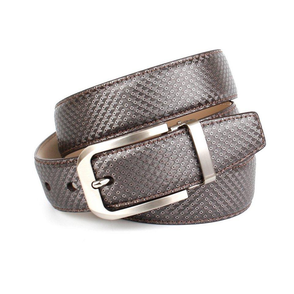 Anthoni Crown Eleganter Ledergürtel mit abgerundeter Schließe in Grau