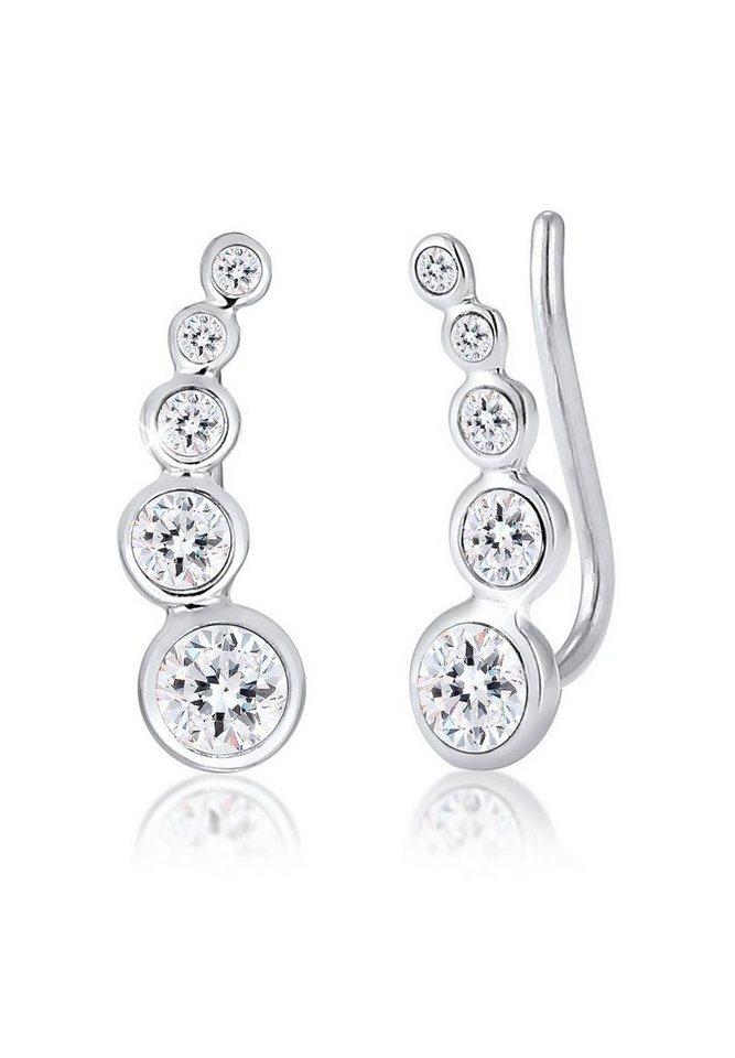 Elli Ohrringe »Earcuff Kreis Swarovski® Kristalle 925 Silber« in Silber