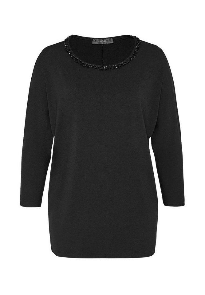 HALLHUBER Fledermaus-Shirt mit Perlenausschnitt in schwarz