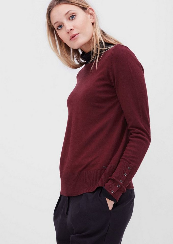s.Oliver RED LABEL Pullover mit U-Boot-Ausschnitt in ruby wine
