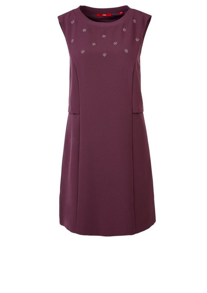 s.Oliver RED LABEL Besticktes Stretch-Kleid in winter plum