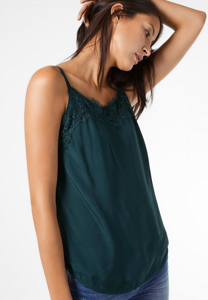 Street One Top mit Spitze Kasey in urban green