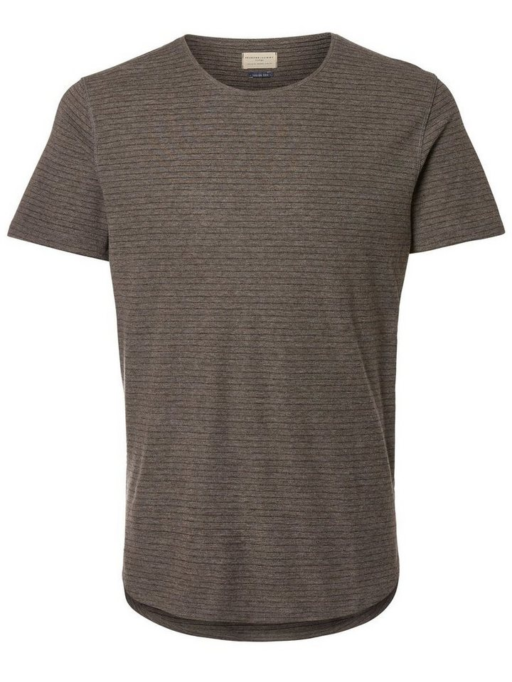 Selected Rundausschnitt- T-Shirt in Medium Grey Melange