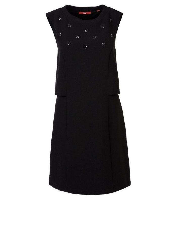 s.Oliver RED LABEL Besticktes Stretch-Kleid in black