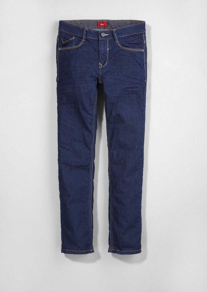 s.Oliver RED LABEL Junior Seattle Slim: Warme Stretch-Jeans für Jungen in dark blue denim stre