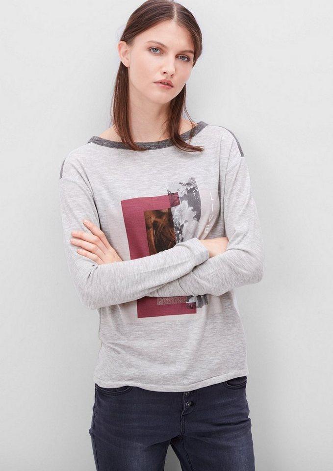 s.Oliver RED LABEL Langarmshirt mit Printcollage in grey melange placed