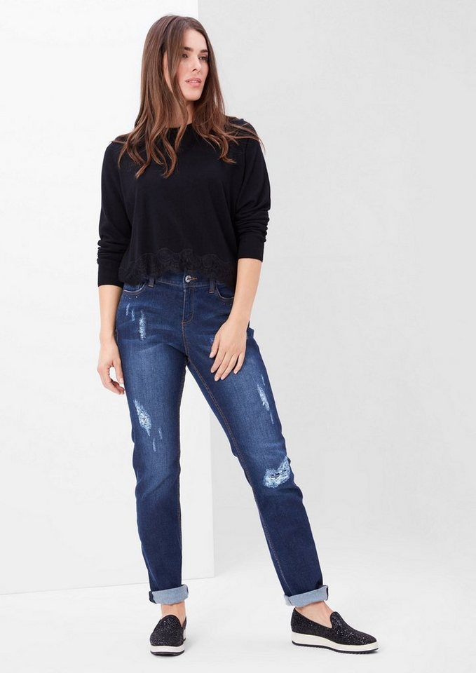 TRIANGLE Curvy: Destroyed Stretch-Jeans in blue denim stretch