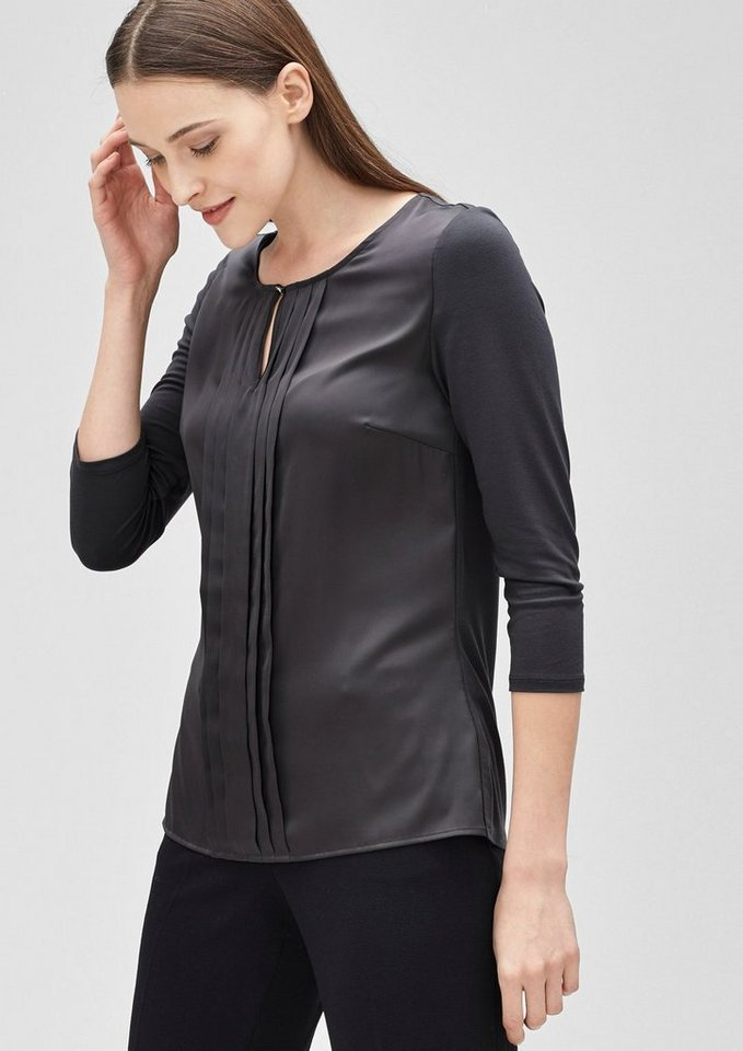 s.Oliver BLACK LABEL Blusenshirt mit Biesenfalten in secret grey