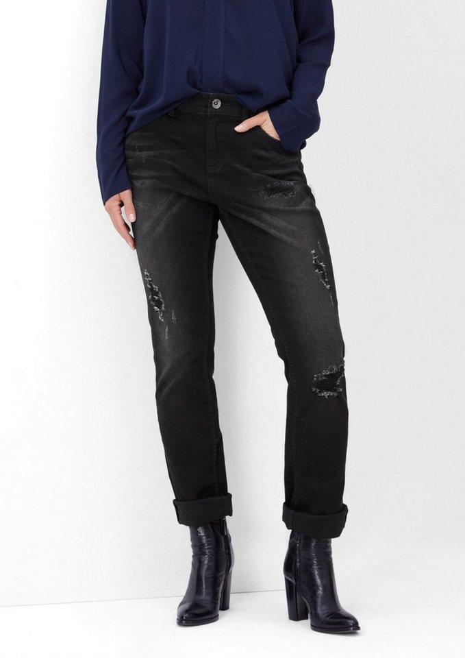 TRIANGLE Curvy: Destroyed Stretch-Jeans in grey/black